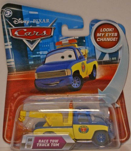 Disney Pixar P7074 Cars Lenticular Eyes #56 Race Tow Truck Tom 1:55 Diecast Vehicle Car by - Tow Diecast Truck