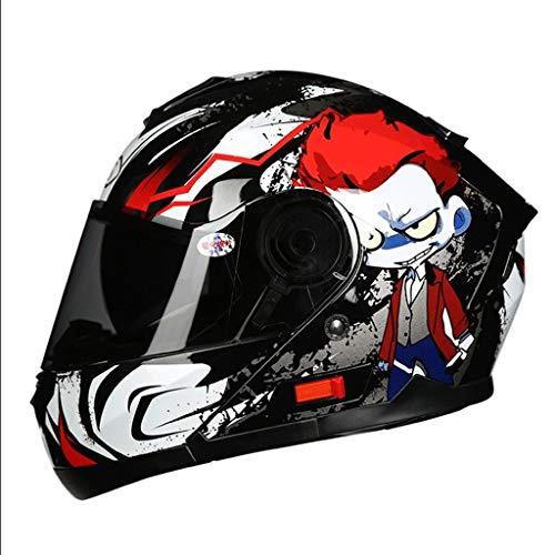 OUTO Casco Rimovibile Multi-Funzione antiappannamento Casco Moto Integrale Viso Enhanced Shell Ventilation Design Maschio Femmina (Color : Red Alien, Size : XL)