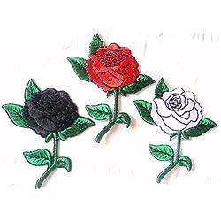 Toppa Stoffa Toppe termoadesive applicazioni termoadesive 3 pezzi belle rose -nero,argento e rosso 8 cm a pezzo