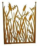 Metallmichl Paravent Libellenzaun Höhe 100 cm Breite 80 cm mit Umrandung, Oben Offen mit 2 Kugeln