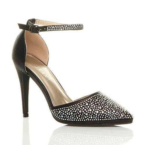 Ajvani Damen Hoher Absatz Spitze Schuhe Knöchelriemen Strass Pumps Sandalen Größe Schwarz