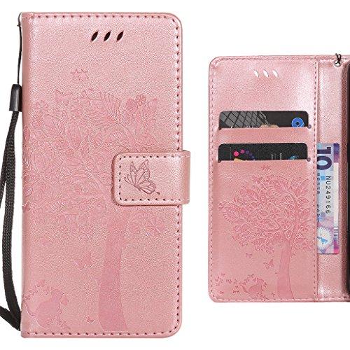 Preisvergleich Produktbild Handyhülle LG V20 Hülle Tasche,  Ougger Einzigartiger Baum Beutel BriefHülle Tasche Bumper Schale Schutzhülle PU Leder Weich Magnetisch Silikon Haut Flip Cover mit Kartenslot (Rose Gold)