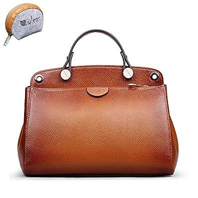 Myleas Women's Brown Vintage Genuine Leather Top Handle ...