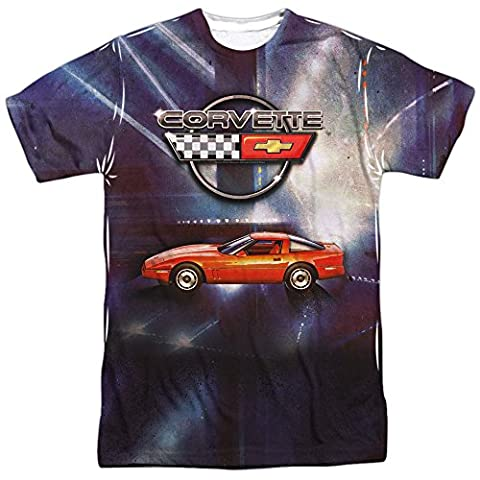 Chevrolet Automobiles Chevy Corvette In Lines Of Light Adult Front Print T-Shirt