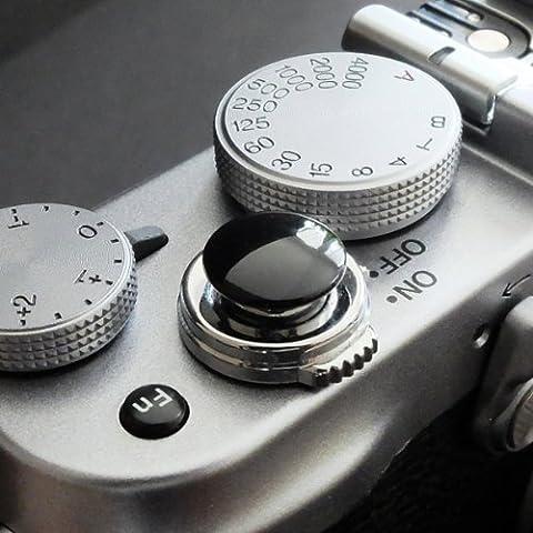 Métallique Soft Déclencheur en noir (convexe, 10mm) pour Leica M-Serie, Fuji X100, X100S, X100T, X10, X20, X30, X-Pro1, X-Pro2, X-E1, X-E2, X-E2S et tous les appareils photos avec la bouche filetage conique