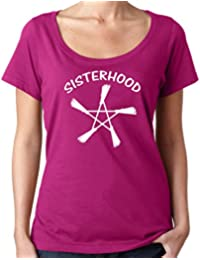 Cheeky Witch® Sisterhood with Broomsticks Pentacle Scoop Neck Top Pagan Wiccan T-Shirt