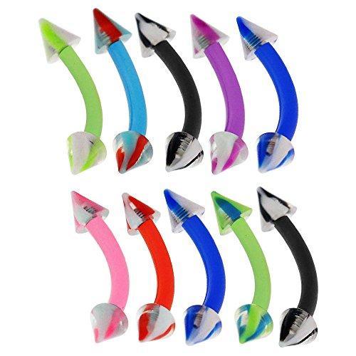 10 Stück-Packung mit 3MM UV-Schraube Marmor Kegel mit 16 Gauge - 10MM Länge Bioplast Flexible Banane Augenbraue Bar Piercing