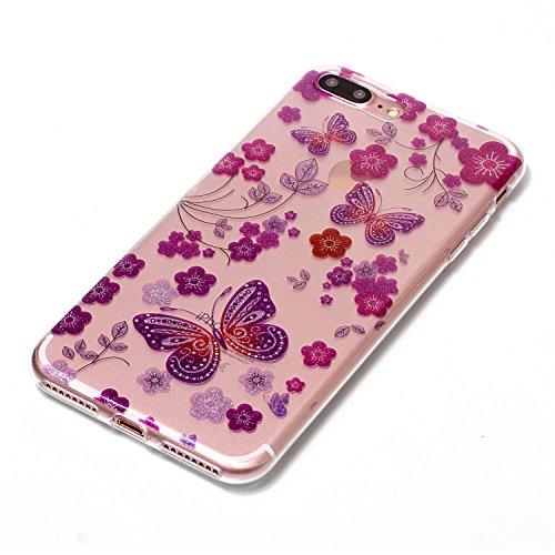 iPhone 8 Plus Hülle,iPhone 7 Plus Hülle,iPhone 7 Plus TPU Handyhülle,Glitzer hülle für iPhone 7 Plus,JAWSEU iPhone 7 Plus Transparent Silikon Hülle TPU Case Schutzhülle Silikon Crystal Case Durchsicht Rot Schmetterling