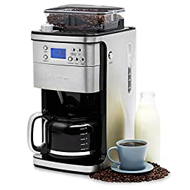 Andrew James Bean to Cup Coffee Machine Filter Coffee Maker with Grinder | Anti-Drip 1.5L Carafe with Timer & Keep Warm Functions | 1100W | Stainless Steel with Blue LED Display Panel