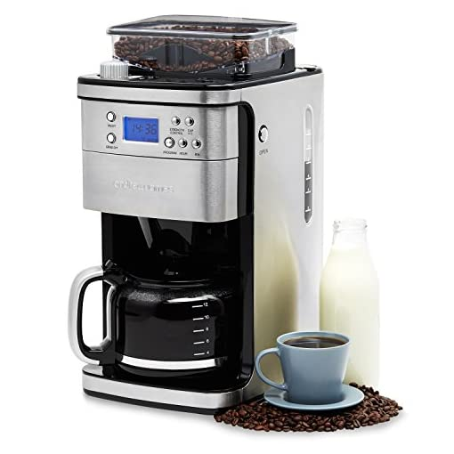 Andrew James Bean to Cup Coffee Machine Filter Coffee Maker with Grinder   Anti-Drip 1.5L Carafe with Timer & Keep Warm Functions   1100W   Stainless Steel with Blue LED Display Panel