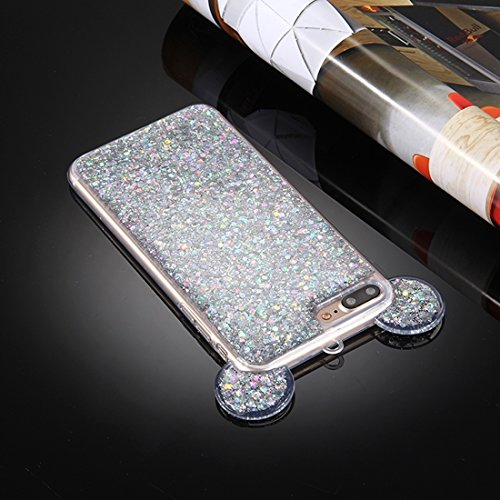 Hülle für iPhone 7 plus , Schutzhülle Für iPhone 7 Plus Glitzer Powder Maus Ohr Soft TPU Schutzhülle mit Sling Hole ,hülle für iPhone 7 plus , case for iphone 7 plus ( Color : Silver ) Silver