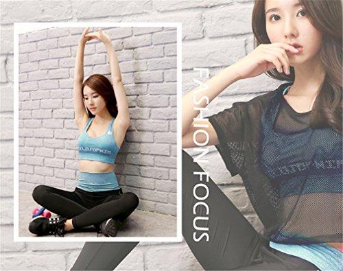 Reggiseno grigio sportivo scuro con lettere reggiseno sportivo traspirante Quick-dry Yoga Tops Donna Blu