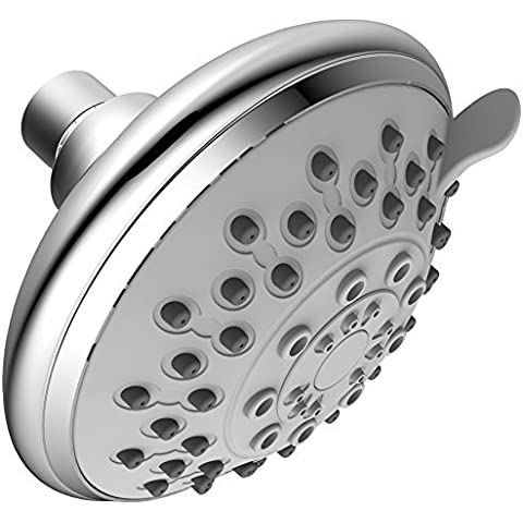 Xogolo 5-Inch SPA Shower Head High Pressure - 6 Fuctions including 5 Sprays + Water-Saving,Polished Chrome Finished, 2.5GPM, Coming with Self-Cleaning Silicon Nozzles, Adjustable Brass Ball Joint by XOGOLO