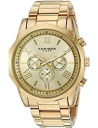 Akribos XXIV Reloj de cuarzo Hombre dorado con esfera analógica pantalla y oro pulsera de acero inoxidable ak940yg