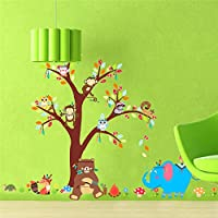 Forest Animals Wall Stickers for Kids Room Bedroom Decor owl Monkey Bear Elephant Tree Mural 100 * 140cm Wall Decals