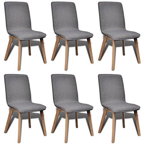 6x Stühle Stuhl Esszimmerstuhl Stuhlgruppe Hochlehner Esszimmerstühle Grau Eiche