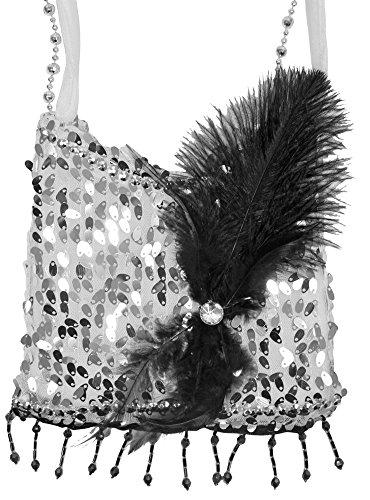 Charleston Pailletten Handtasche - Silber - Zauberhafte Party Umhängetasche zum 20er Jahre Gatsby (20's Party Kostüm)