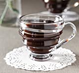 #8: SPIRAL GLASS TEA COFFEE TRANSPARENT CUPS - SET OF 6