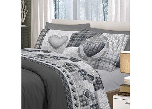 Biancheriaweb completo lenzuola linea pensieri delicati in 100% cotone disegno love mountain matrimoniale grigio