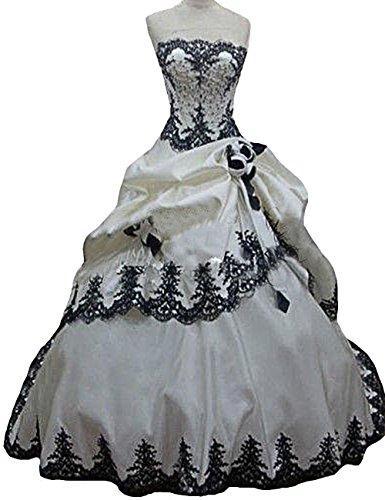 O.D.W Lange Appliques Frauen Vintage Brautkleidere Gotisch Spitze Hochzeitskleider(Schwarz+Weisse 1,...