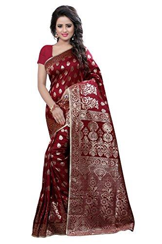 Shree Sanskruti Women's Polyester Saree With Blouse Piece (Banarasi 1003 Maroon_Maroon)