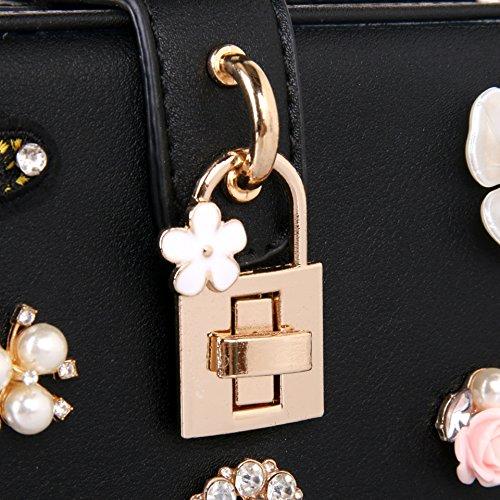 Borse Sera Womens Butterfly cena ricamo Borsa Perle di lusso diamante fiore Borsetta tracolla Black
