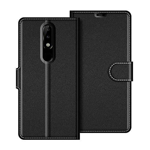COODIO Nokia 5.1 Plus Hülle Leder, Nokia 5.1 Plus Lederhülle Ledertasche Wallet Handyhülle Tasche Schutzhülle mit Magnetverschluss/Kartenfächer für Nokia 5.1 Plus 2018, Schwarz
