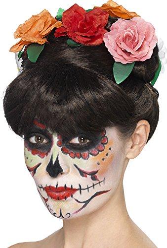 Smiffys, Damen Tag der Toten Perücke mit Flechte und Blumen, One Size, Schwarz, (Perücken Kostüm Hochsteckfrisur)