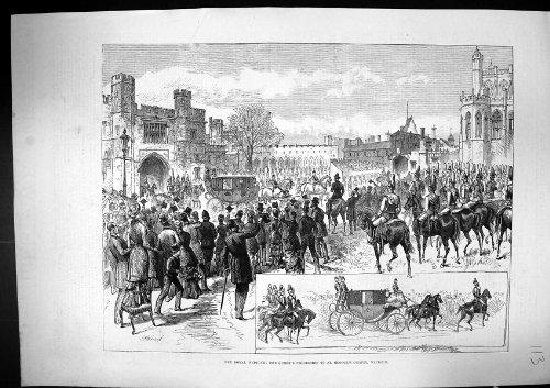 Original old antique victorian print Antiker Druck 1882 Königlichen Hochzeits-Königin-Prozessions-St George des Kapellen-Winds…