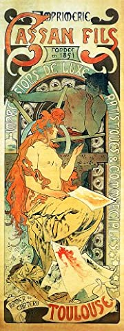 Cassan Fils Printers, Toulouse, Reproduction 1896 Handcrafted Alfons Alphonse Mucha Art Nouveau Greeting Card / Note Paper; Approx. 8 x 6 inches