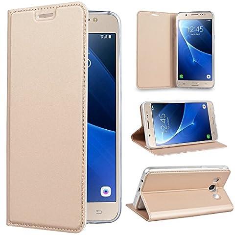 SMART LEGEND Lederhülle für Samsung Galaxy J5 2016 Ledertasche Hülle Gold Schutzhülle Premium PU Leder Flip Case Protective Cover Innere Transparent Weiche Silikon Bookcase Handy Tasche Schale mit Magnet Standfunktion