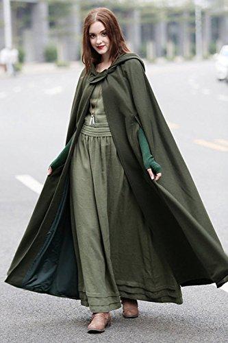 Les Femmes À Capuche Bouton Cape Cosplay Costume Vêtements Armygreen
