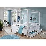 Lomado Himmelbett mit Bettschubkasten ● massiv weiß lackiert ● Liegefläche 90x200cm ● Jugendbett Gästebett Einzelbett