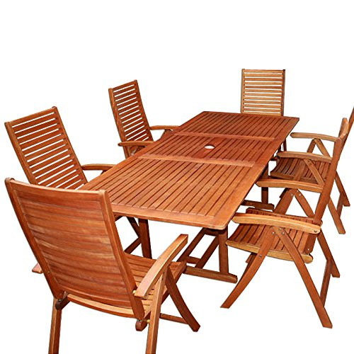 """Wooden Garden Furniture Set Patio Dining Table and Chairs Set """"Unikko"""" Made Of Solid Eucalyptus Hardwood 6 Seater Outdoor"""