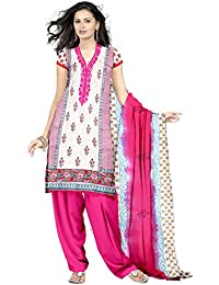 Eshaana Fashions Pink Cotton Embroidered Semi-stitched Salwar Suit With Chiffon Dupatta - B0752BSRYJ