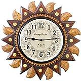 Vintage Clock Handicraft Big Regal Sun Carved Pine Wood Clock (49 cm x 9.5 cm x 49 cm, Brown) …