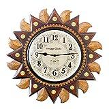 Vintage Clock Big Regal Sun Carved Pine Wood Clock (49 cm x 9.5 cm x 49 cm, Brown)