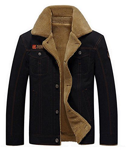 Cargo Baumwoll-mantel (Dalisay Herren jacken mantel männer Baumwolle Warme Pelzkragen Beiläufig Knopf Military Cargo Jacke Outwear Freien Fleece Winddicht Jacken Parka S-5XL (Schwarz, 5XL))