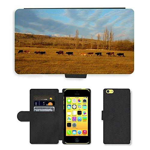 Just Mobile pour Hot Style Téléphone portable étui portefeuille en cuir PU avec fente pour carte//m00139057Vaches Animaux Paysage Hill ciel//Apple iPhone 5C