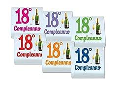 Idea Regalo - QUADRATINI DI MARSHMALLOW STAMPATI 1 CONFEZIONE + 20 BIGLIETTINI BOMBONIERA (18 ANNI 0898)