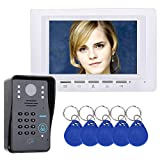 XC 7-Zoll Ultra-dünnes RFID Passwort videophon Intercom Türklingel, 1000TVL Infrarotkamera, Zutrittskontrollsystem, mit Wetterschutzabdeckung