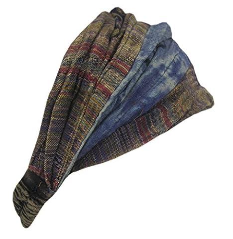 Little Kathmandu Cotton Elastic Hippie Bohemian Bandana Headband Patchwork Stonewashed
