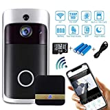 Wi-Fi Video Doorbell, 720P HD Smart Doorbell with 16G Card 166° Wide Angle