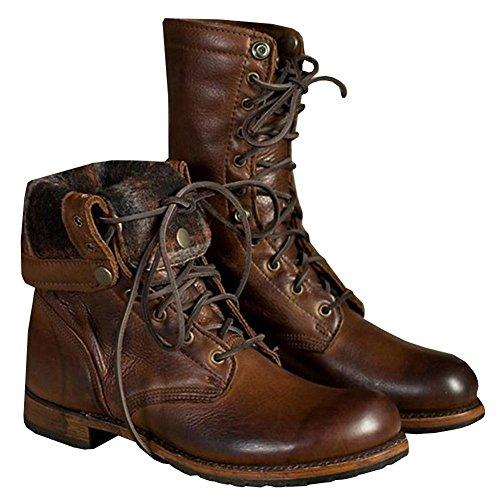 tte Kalb Stiefel Leder Schuhe Braun Schnüren Winter Herbst Eben Mode Groß Größe 39-46 , Brown , 39 (Plus Größe Gehen Gehen Stiefel)