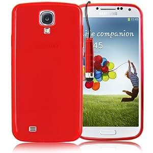 KOLAY® Samsung Galaxy S4 Hülle - Silikonhülle Case Schutzhülle in Rot + Eingabestift für das neue Samsung S4