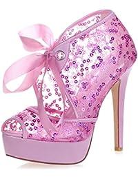 De Para Cinta Tacón Mujer Amazon Raso Zapatos es 4PBqI