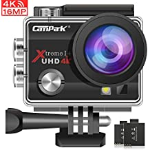 Campark 4K Action Cam 16MP Wi-Fi Action Camera Impermeabile 30M con 2 Batterie Custodia Impermeabile e Kit di Accessori Compatibile con Gopro
