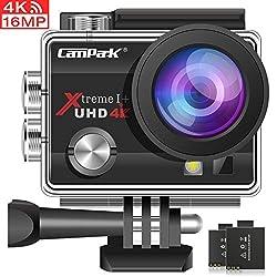 Campark Action Cam 4K WiFi Sports Action Kamera 16MP Ultra Full HD Helmkamera Wasserdicht mit Dual Batterien und Kostenlose Zubehör Kits