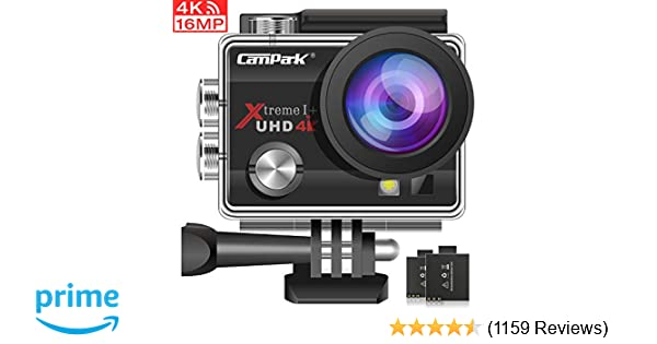 Campark ACT74 Action Camera 4K 16MP Waterproof Cam 30M Underwater Camera  170°Wide View Angle 2 0 Inch LCD Screen with 2 Batteries