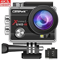 Campark ACT74 Action Camera 4K Ultra HD WiFi Sports for Vlog Underwater Cam Waterproof 30M with 170° Adjustable Wide Angle 24